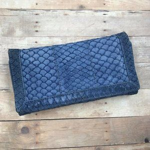 Reiss Womens Trifold Wallet Blue Fish Scale Phone